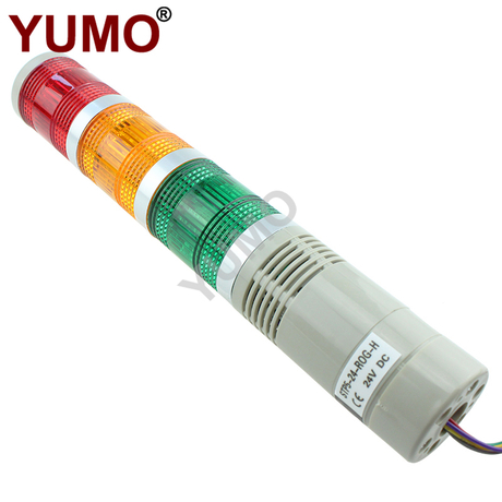 YUMO 24V DC 3layer LED Signal Tower Flashing Warning Light with Buzzer