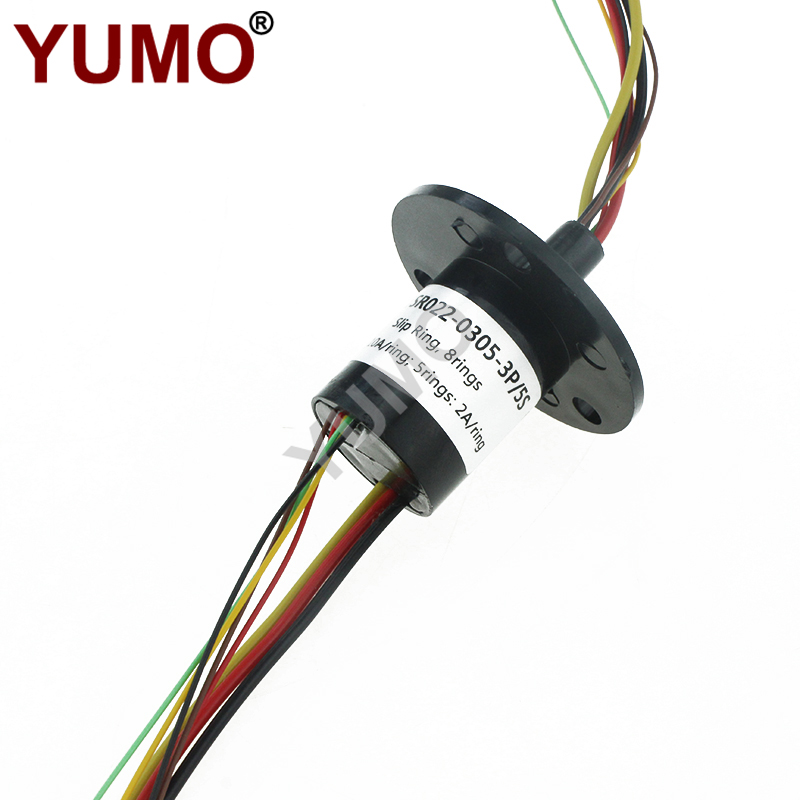 YUMO 22mm 8rings 10A Electrical Contacts Capsule Slip Ring Carbon Brush Holder for Slip Ring