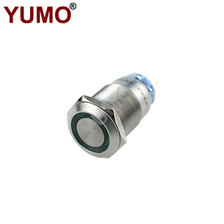 YUMO 19mm 12V Green Led Waterproof Stainless Steel Metal Push Button