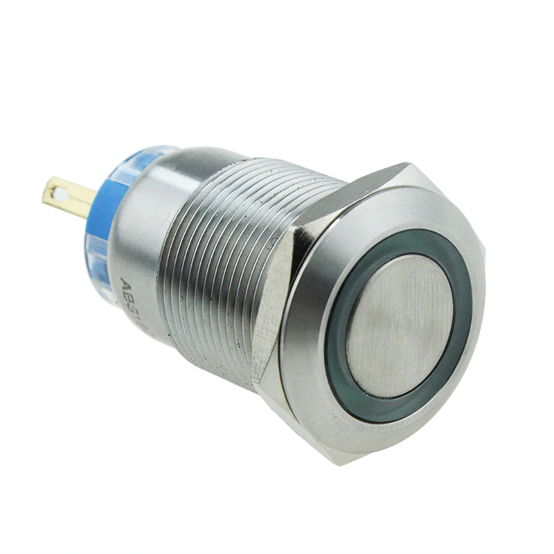 19mm Flat Button Ring Illuminate Latching 5v Led Waterproof IP67 Metal Switch